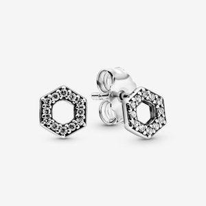 Pandora Sparkling Honeycomb Hexagon Stud Earrings